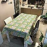 Mantel Impermeable de jardín Familiar de Animales de Dibujos Animados, Adecuado para Banquete de Boda, Cocina, Cubierta de repisa, Picnic M-6 140x160cm
