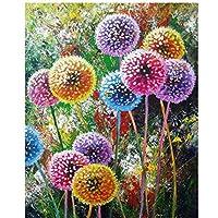 キャンバスに抽象的なカラフルなタンポポの花油彩リビングルームのモダンなプリントポスター画像8x12インチ(20x30cm)x1フレーム付き