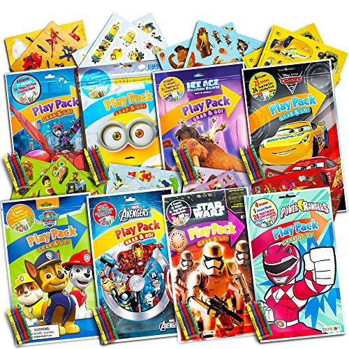 Ultimate Boys Party Favors Play Packs - 8 Sets with Stickers, Coloring Books, Crayons and Licensed Crenstone Reward Stickers (Boys Party Supplies)