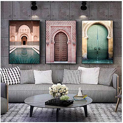 henggfd Marokkanische Tür Retro Poster abstrakte Wandkunst minimalistischen Malerei 3 Panel Nordic Wohnzimmer Dekoration Malerei -50x70cm kein Rahmen