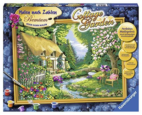 Ravensburger Malen nach Zahlen 28843 - Cottage Garden - Perfektes Malergebnis durch hochwertiges Künstlerzubehör, ohne Rahmen