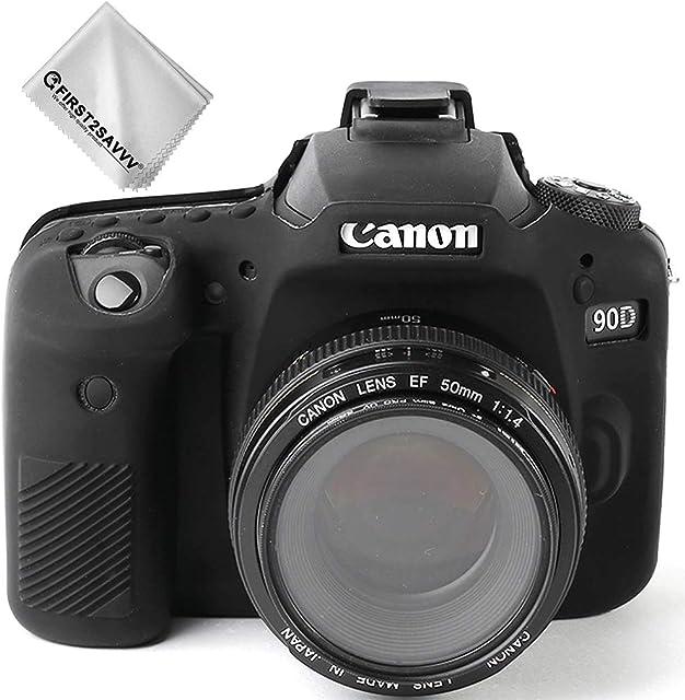 Negro Cuerpo Completo Caucho de TPU Funda Estuche Silicona para cámara para Canon EOS 90D