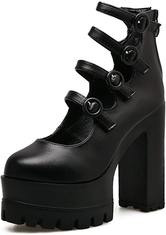 Summer-lavender Spring Autumn Platform shoes Woman Thick Heel Single shoes Ankle Strap Sexy Buckle Women Pumps