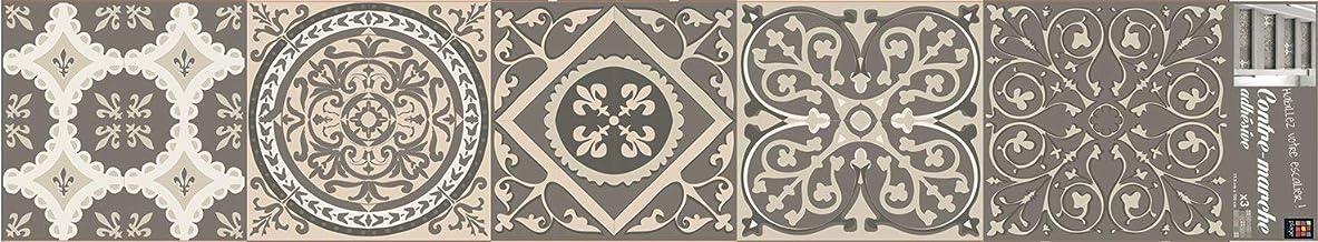 PLAGE STAIRS trappen stickers -Azulejos pastelcementtegels [100 x 19 cm], vinyl, beige, 100 x 0,1 x 19 cm, 3-delig