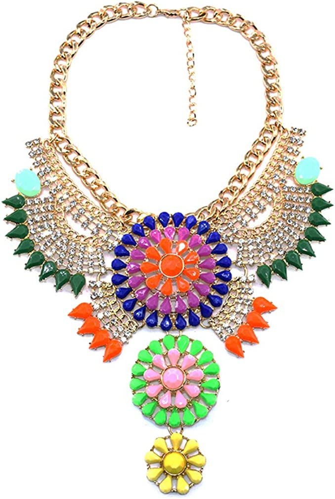 YAZILIND Exaggerated Colorful Gemstone Flowers Short Clavicle Chain Chunky Necklace Ladies Collar Jewelry
