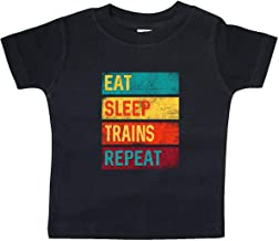 inktastic Eat Sleep Trains Repeat Baby T-Shirt