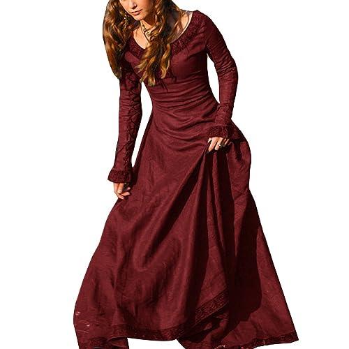 49922a33aaae Vestito Medievale Donna Abito Costume Cosplay Medioevo Principessa Vestito  Gotico Rinascimentale Rosso 2XL