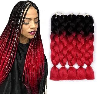 AIDUSA Ombre Colors Braid Kanekalon Hair 5pcs Synthetic Afro Braiding Hair Extensions 24 Inch 2 Tone for Women Hair Twist Crochet Braids 100g(#01 Black to Red)