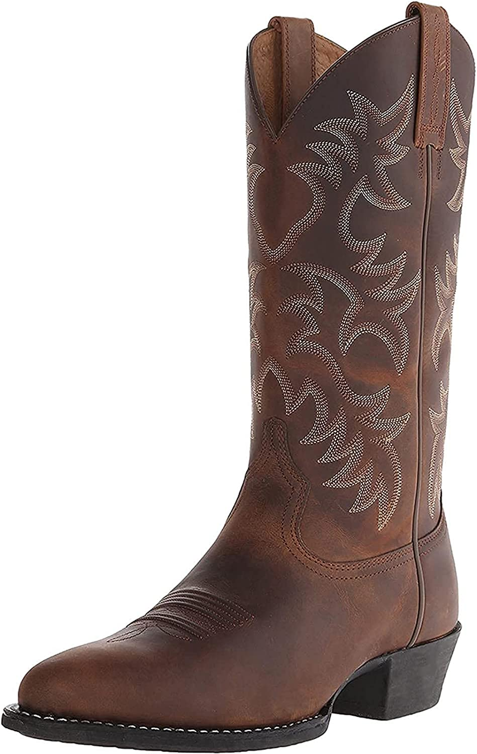 Men's Fashion Mid Calf Western Cowboy Boot Modern Distressed Boot Embroidered PU Leather Cowboy Ankle Boots