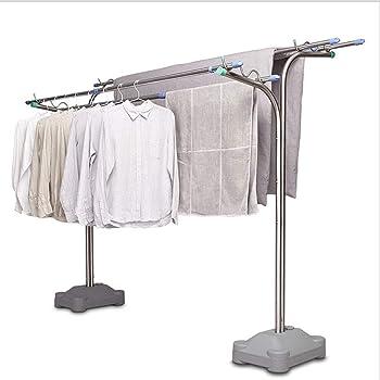 Tendedero de Ropa Plegable Vertical Poste de ropa creativo de acero inoxidable Balcón al aire libre Estante de secado de piso Estante de secado de elevación de doble poste grande Tendederos: Amazon.es: