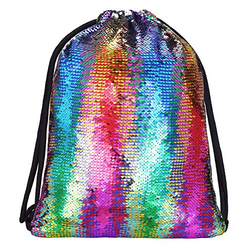 Alritz Mermaid Sequin Drawstring Bags Reversible Sequin Dance Bags Gym Backpacks for Girls
