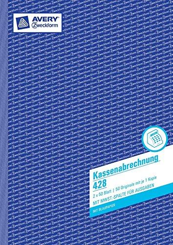 Avery Zweckform 428 Kassenabrechnung, DIN A4, mit MwSt.-Spalte, 2 x 50 Blatt, weiß, gelb (10er Vorteilspack)