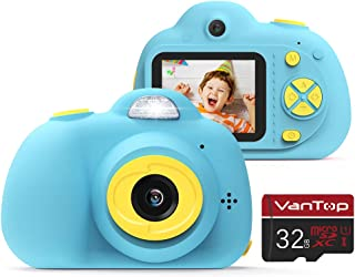 VanTop Junior K5 Kids Camera, 1080P HD Mini Video Camera for Children w/ 32GB Memory Card, 8MP Selfie Len, 2inch IPS Screen, Card Reader, Carrying Bag, Cartoon Sticker, Lanyard