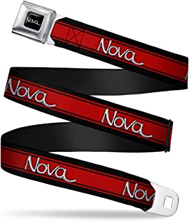 "Buckle-Down Seatbelt Belt - 1968-72 NOVA Script Emblem/Stripe Black/Red/Silver - 1.5"" Wide - 32-52 Inches in Length"