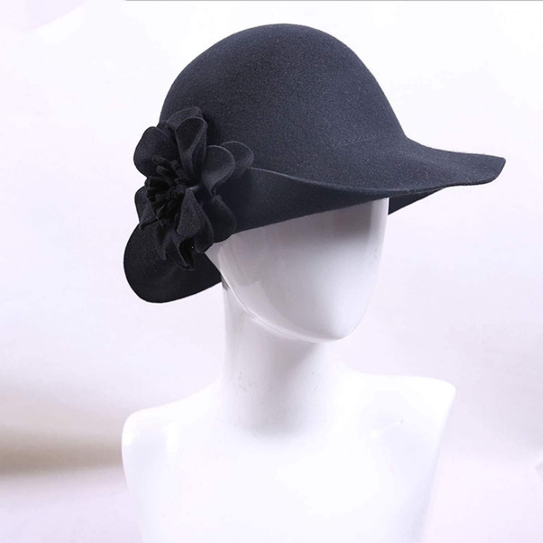 Hat Fall Winter Women Wool Felt Hat Flower Dome Top Hat (color   Black, Size   M)