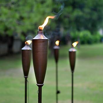 Tikki Torch - Deco Home Set of 4 Tikki Torch - 60inch Citronella Garden Outdoor/Patio Flame Metal Torch - Brown
