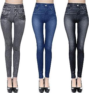 3pcs Leggings Long et Court,Leggings Imitation Jean Femme Jeggings Taille Haute Ceinture Elastiquée Pantalon Moulant Femme...