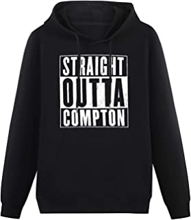 Men's Fashion Hoodies Straight Outta Compton Hoodies Long Sleeve Pullover Loose Hoody Sweatershirt Black