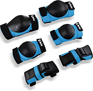 LIKIQ Kids/Adults Knee Pad Elbow Pads Wrist Guards 3 in 1 Protective Gear Set for Multi Sports Skating Scooter Skateboard Rollerblade Roller Skates Cycling BMX Bike Inline Riding Extreme Sports