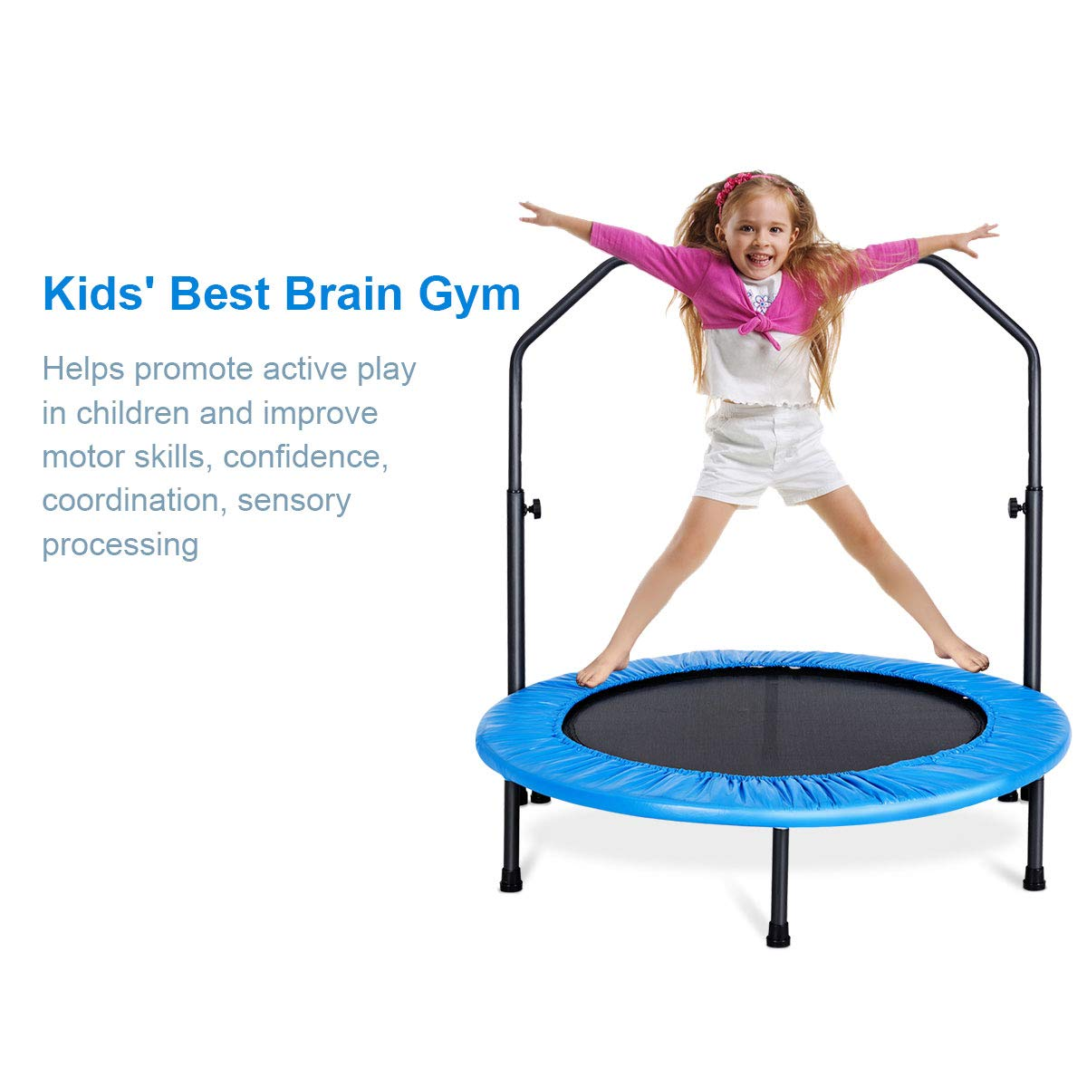 Jump Fitness Workout Trainer Grepatio 48 Fitness Mini Trampoline Max Load 330lbs Indoor Rebounder for Adults Exercise Trampoline with Adjustable Foam Handle