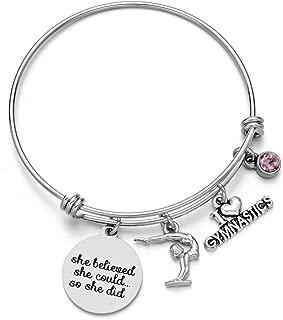 ODLADM Gymnastics Charms Bracelets - Sports Bangle with Birthstone Birthday Gift for Gymnast