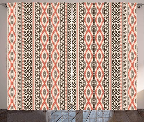ABAKUHAUS Southwestern Curtains, Traditional Vertical Borders Inspired by Primitive Art Ikat Style, Living Room Bedroom Window Drapes 2 Panel Set, 102 L X 110 W, Multicolor