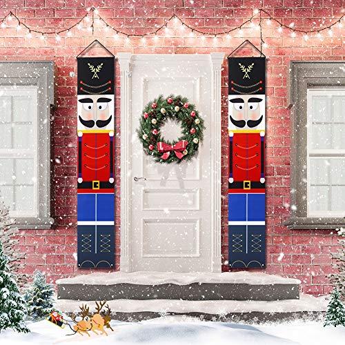 Yehapp Weihnachten Deko Outdoor Dekoration Nussknacker Soldat Banner Briefe Weihnachtsdekoration für Haustür Veranda Graden Indoor Willkommen