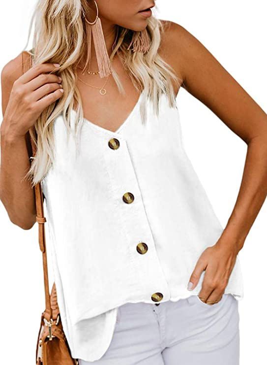 USUASID Women's Sleeveless V Neck Strappy Cami Tank Top Casual Button Down Shirt Blouses