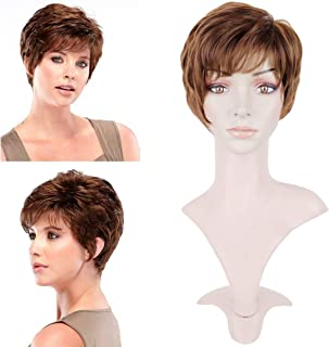 BECUS Short Brown Curly Pixie Cut Hair Natural Heat Resistant Synthetic Wigs for Women with Wig Cap (Unisex)
