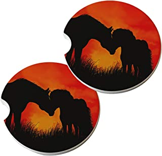 set of 4 cst/_251976/_3 3dRose A glorious Friesian horse in gothic look Ceramic Tile Coasters
