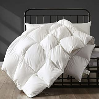 APSMILE Hungarian All Season Goose Down Comforter - Ultra-Soft Pima Cotton, 750FP 40oz Medium Warmth Year-Round Duvet Insert (Full/Queen, White)