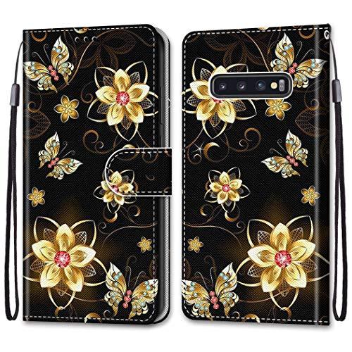 Nadoli Bunt Leder Hülle für Samsung Galaxy S10 Plus,Cool Lustig Tier Blumen Schmetterling Entwurf Magnetverschluss Lanyard Flip Cover Brieftasche Schutzhülle mit Kartenfächern