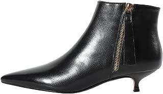 leather kitten heel ankle boots