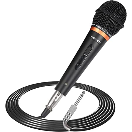 Hotec Premium Vocal Dynamic Handheld Microphone with 19ft Detachable XLR Cable and ON/Off Switch (Metal Black) (H-W07)