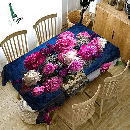 Manteles Jardin Rectangular Mantel Rectangular De Algodón Grueso 3D Mantel con Patrón De Flores Moradas Paño Lavable a Prueba De Polvo-Color2_140X220Cm