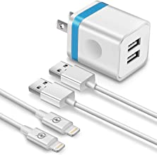 FIMARR (3-in-1) 6ft Fast Charging/Sync Cable + 2.1A/5V Dual Port USB Wall Plug Charger Replacement for iPhone Xs/XR/X 8/7/6 Plus, 5C/5S, iPad Air Mini Pro, UL-Certified (Pack-3, Blue)