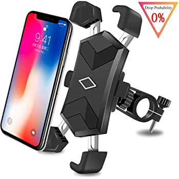 360/° Adjustable Motorcycle Phone Mount Compatible with iPhone 11 Pro Max XR XS Max 8 7 6 6s Plus Google Pixel LG Galaxy Bike Phone Mount Detachable Silicone Universal Bicycle Phone Holder