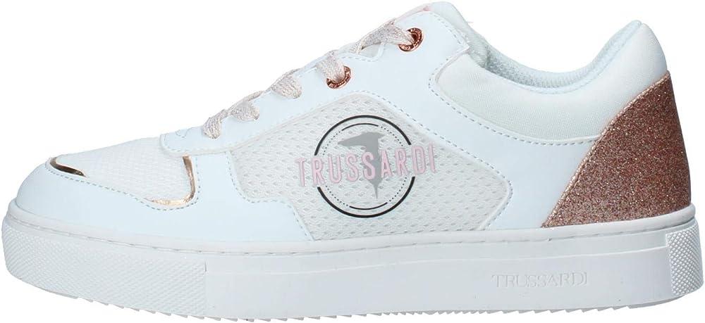 Trussardi jeans,scarpe sportive ,sneakers rosa per donna,in pelle sintetica e tessuto 42102-36