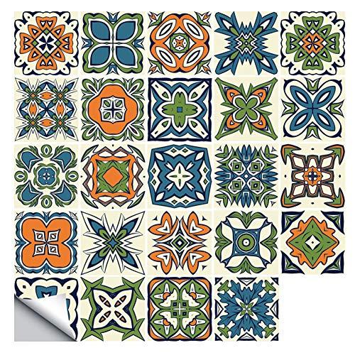 Prosperveil - 20 Pegatinas Autoadhesivas para Azulejos de Pared, Impermeables, para Cocina, baño, Azulejos, Vinilo, decoración Retro del hogar, Verde y Naranja, 15 x 15 cm