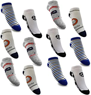 12 pares de calcetines para niño, 95% algodón, multicolor, talla 23-38