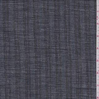 Heather Black Stripe Linen Blend Suiting, Fabric by The Yard