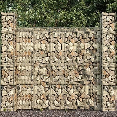 vidaXL 3X Gabionenkorb Gabione Steingabionen Steinkorb Gabionen Wand Mauer Drahtkorb Säule Säulen Säulengabione Verzinkter Stahl 25x25x197cm