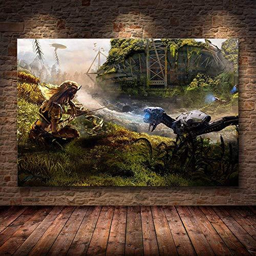 shuimanjinshan Horizon Zero Dawn Spiel Poster Artwork Poster und Drucke Wandkunst dekorative Bild Leinwand Malerei für Wohnzimmer Home Decor Leinwand Bilder (50X70Cm), Wkh-19261