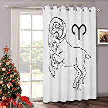 Aishare Store Zodiac Aries Blackout Room Darkening Door Blinds, Monochrome Hand Drawn Style Jumping Horned Animal and Horo...