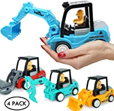 Construction Toys 4 Pack Playset with Excavator, Bulldozer, Road Roller, Lift Truck Toys, Friction Powered Push and Go Toy Cars for Toddlers, Kids, 3,4,5,6 Year Old Boy, Girl, Sandbox Trucks Vehicles