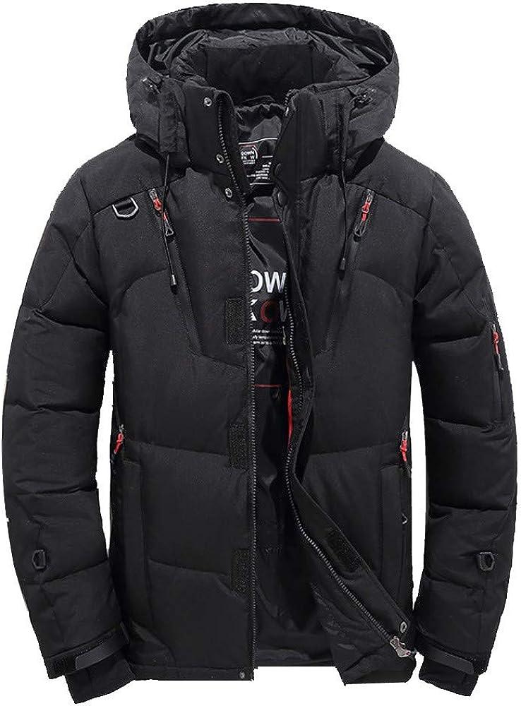 MODOQO Men's Down Jacket Winter Warm Thick Puffer Zipper Hooded Coat Outwear