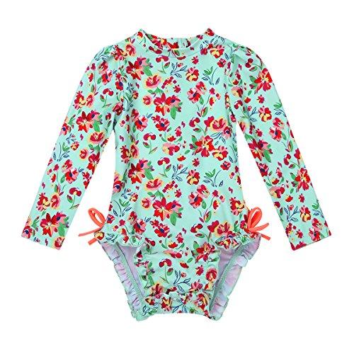 TiaoBug Baby Badeanzug Einteiler geblümt Mädchen Langarm Schwimmshirt Bademode Uv Schutz Badebekleidung Schwimmanzug mit Reisverschluss 0-24 Monate Blumenmuster 6-12 Monate