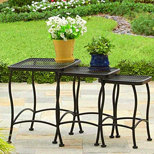 BS Outdoor Nesting Tables Set of 3 Seacliff Wrought Iron Side End Tables Patio Garden Pool Backyard Table Black Occasional Side Table Accent Table Set Decor for Balcony & eBook by BADA Shop