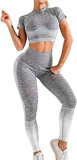 Conjunto Yoga Ropa Fitness Conjunto Deporte Mujer Pantalones Leggings De Yoga Súper Elásticos Sin Costuras y Camiseta Depo...