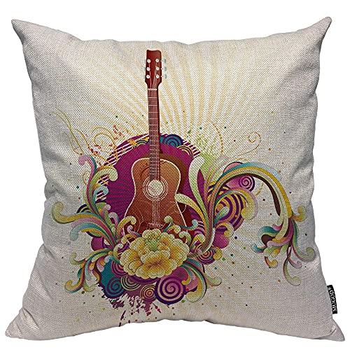 Almohada de Estampado, Almohada Pattern, Funda de cojín Throw Pillow para Cama sofá Sala de Estar Dormitorio,Guitarra Tema Musical Decorativo Rock and Roll Salpicaduras de Flores Mancha de Tinta
